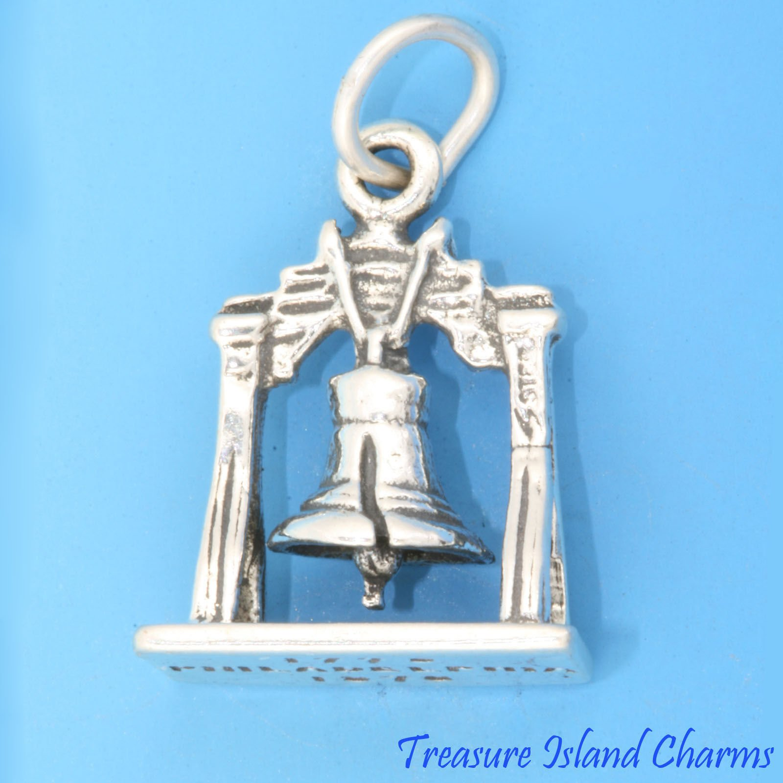 LIBERTY BELL PHILADELPHIA PENNSYLVANIA 3D .925 Solid Sterling Silver Charm Jewelry Making Supply Pendant Bracelet DIY Crafting by Wholesale Charms