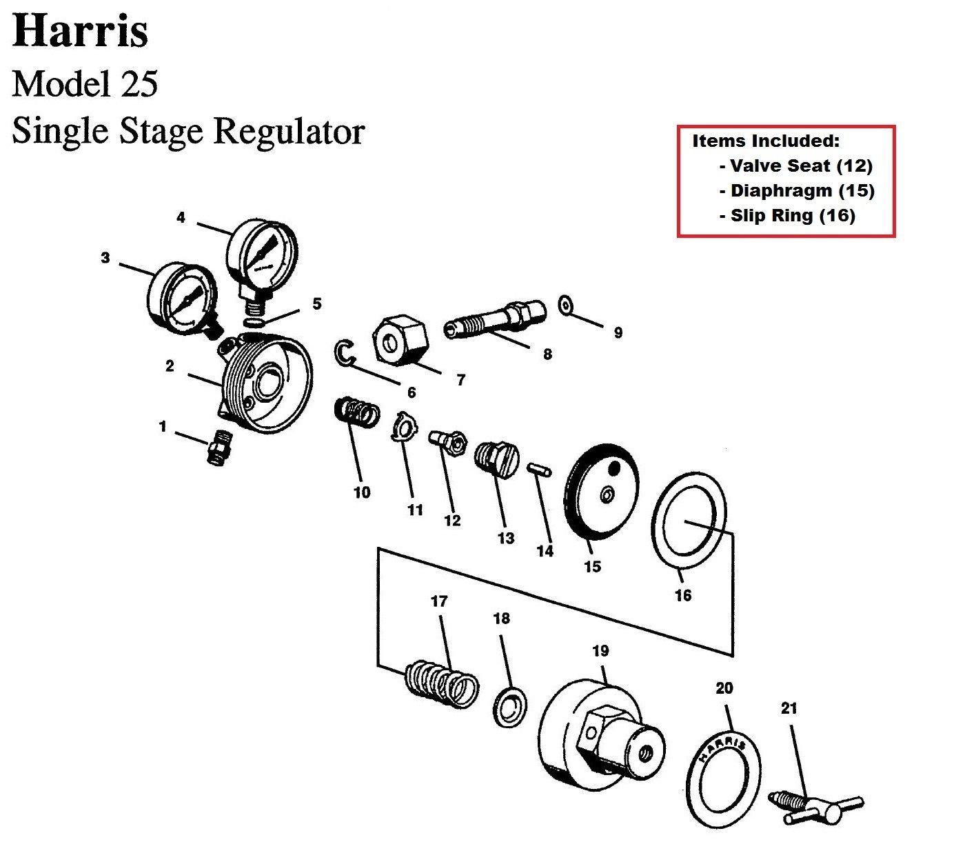 Harris Model 25 29 Regulator Rebuild Repair Parts Kit W Diaphagm Gas Welding Equipment Diagram