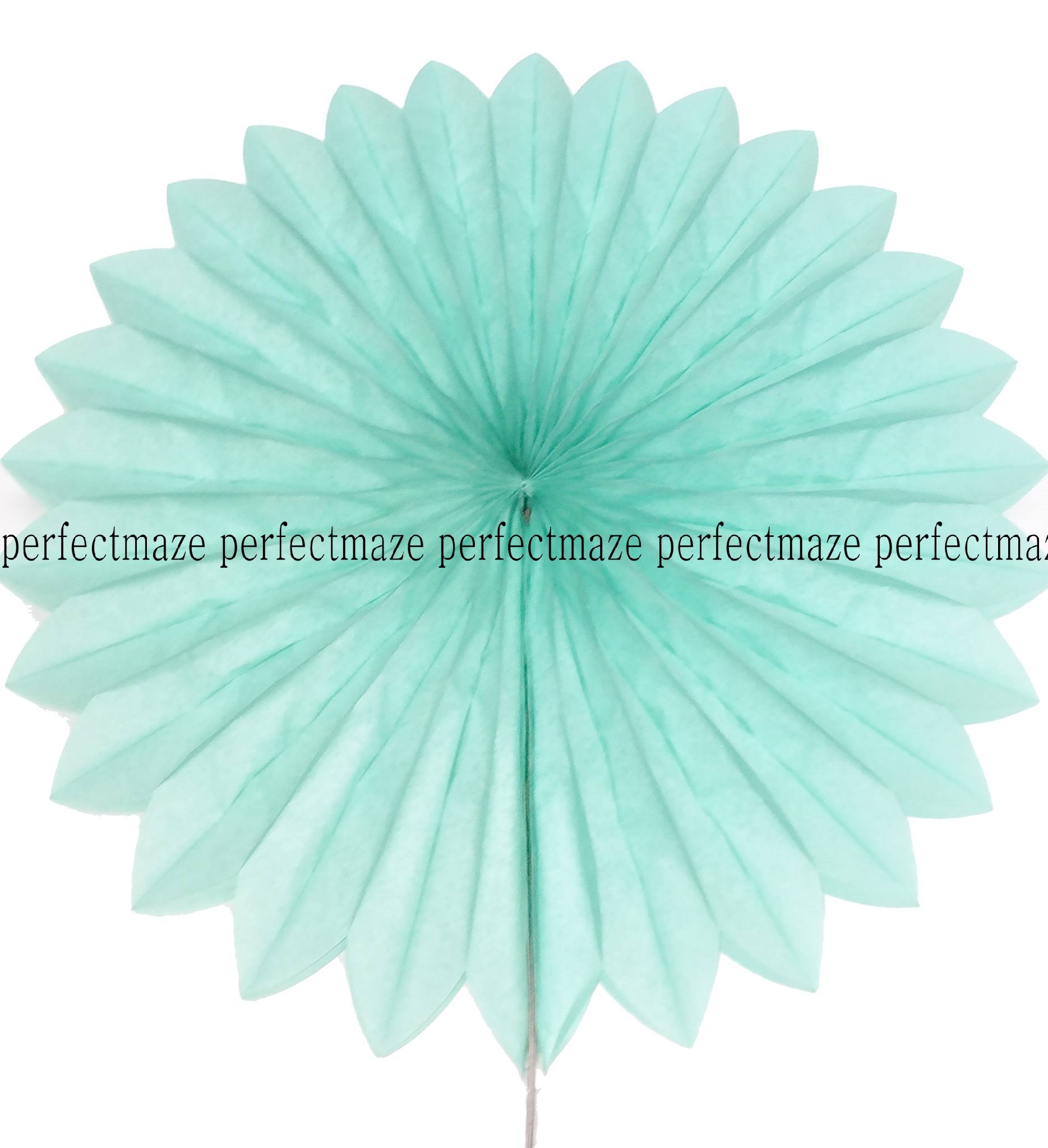 Perfectmaze 12 Piece 10 Inch Tissue Paper Pinwheel Hanging Fan for Wedding Party Engagement Baby Shower Decoration (Tiffany Mint)