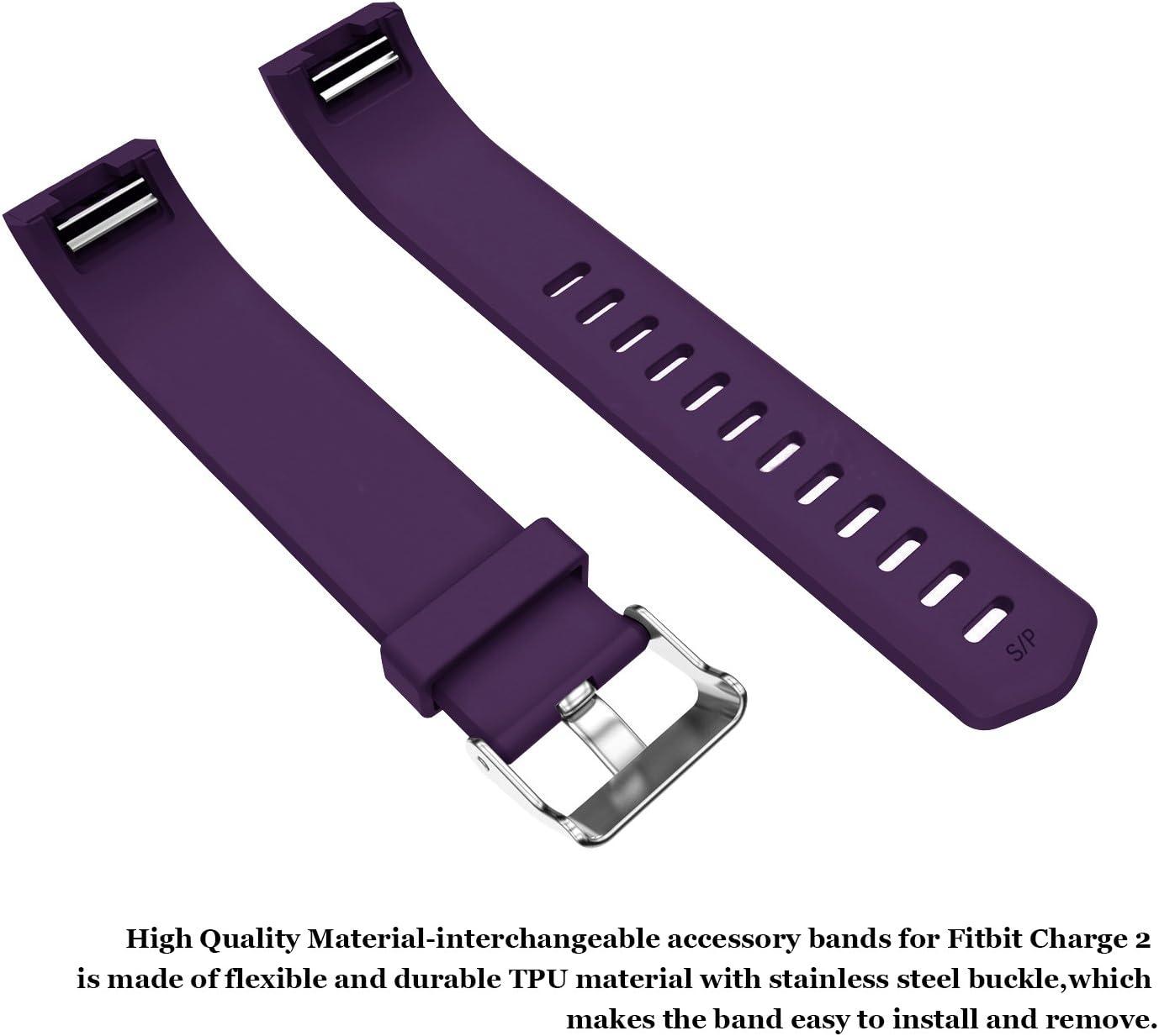 Accessoires R/églables en Silicone Large Small Strap Remplacement de Remplacement Bepack Fitbit Charge 2 Bracelet Sport Band pour Montre Fut/ée Bracelet Fitbit Charge 2 Femme Homme Rouge Bleu