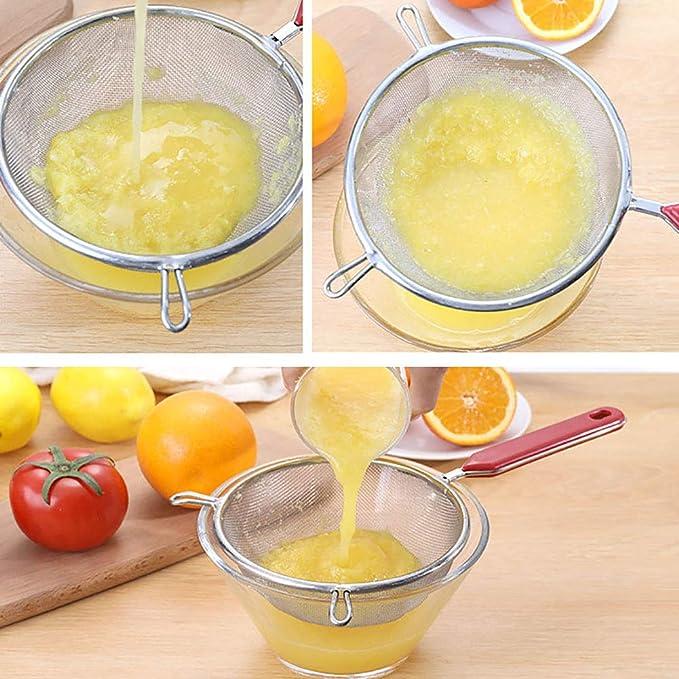 Colador de Malla Fina de Acero Inoxidable Premium - Mango Aislado ...