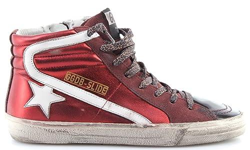 56222d3e22 Golden Goose Scarpe Sneakers Alte Donna Slide G30WS595P4 Brick Lame ...