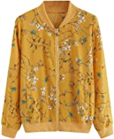 Women Fashion Floral Print Zipper Bomber Jacket Outwear