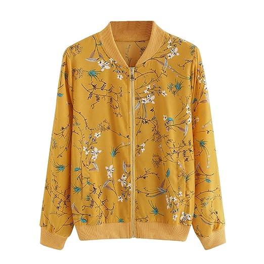 Amazon Com Maonet Women Fashion Yellow Floral Print Zipper Bomber