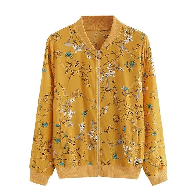 Kulywon Women Fashion Floral Print Zipper Bomber Jacket Outwear Coat