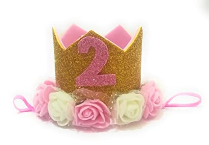 Happiness 1 Pc Gold Pink And White Rose Flower 2nd BirthdayCake