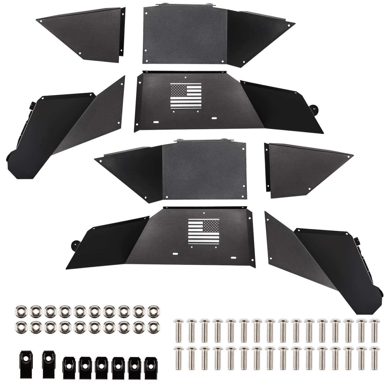Silver E-cowlboy Front Inner Fender Liners for Jeep Wrangler JK 2007~2018 Black Powder Coated Aluminum Alloy US Flag Logo
