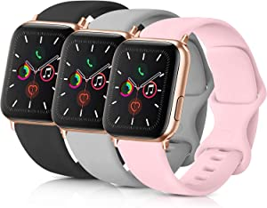 Pack 3 Compatible with Apple Watch Band 38mm, Soft Silicone Band Compatible iWatch Series 4, Series 3, Series 2, Series 1 (Black/Gray/Pink, 38mm/40mm-S/M)