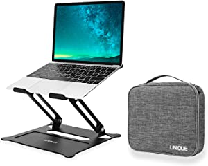 "ENQINN Adjustable Laptop Stand with Storage Bag, Ergonomic Aluminum Laptop Computer Stand, Laptop Riser Stand for Desk for MacBook Air Pro, Dell, HP, Lenovo More 10-15.6"" Laptops"