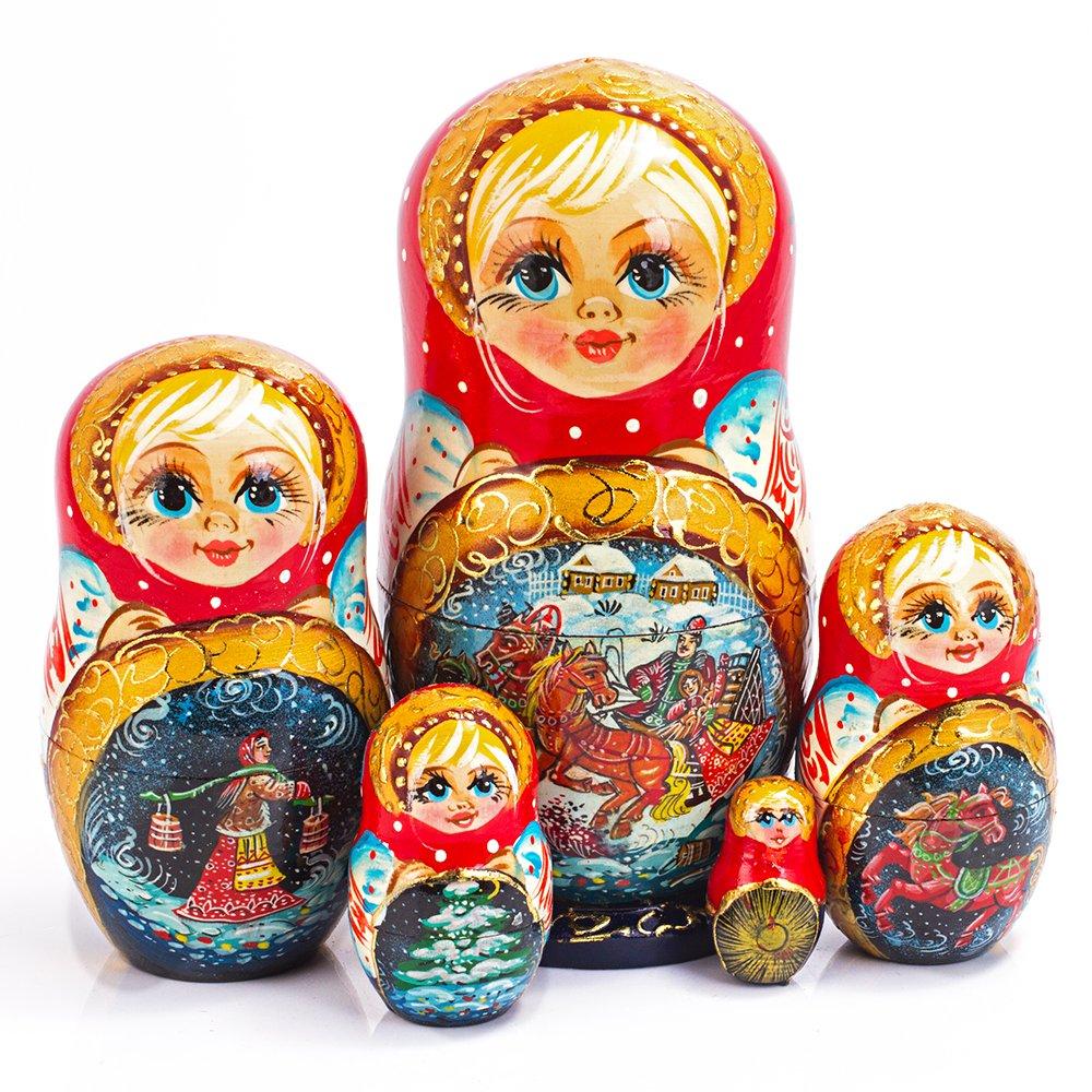 Books.And.More Winter Troika Nesting Dolls Set 5pcs Matryoshka Dolls
