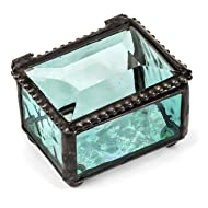 J Devlin Box 325 Series Mini Stained Glass Ring Box (Aquamarine Blue)