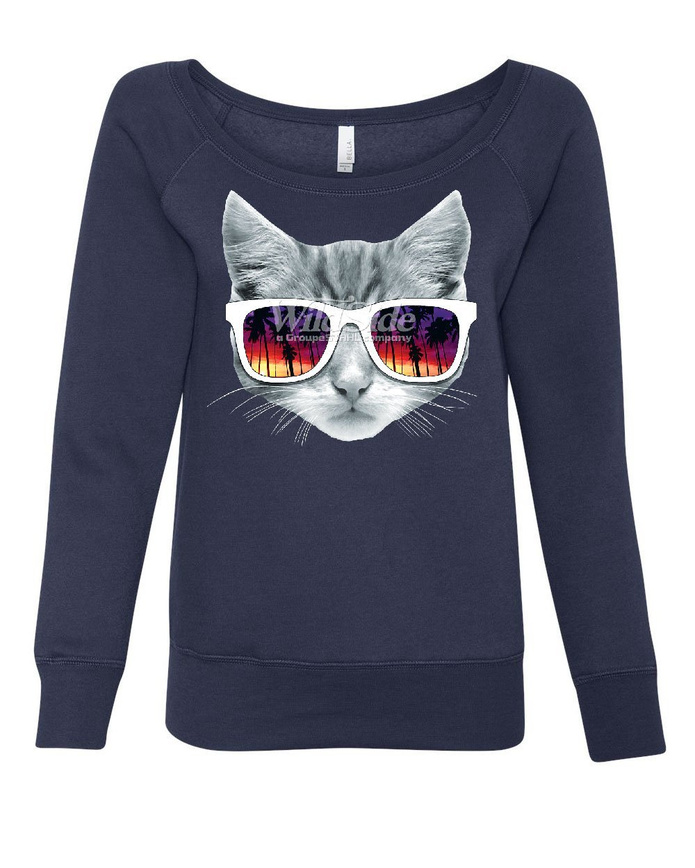 Kitty with Sun Glasses Women's Sweatshirt Cute Kitten Palm Trees Cat Lovers Navy Blue 2XL