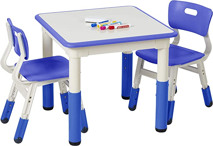 Ecr4kids Square Resin Dry Erase Activity Table With 2 Chairs Indoor Kids Plastic Adjustable Table And Chair Set For Classrooms Daycares Homes Cornflower Blue 3 Piece Set Toys Games Amazon Com