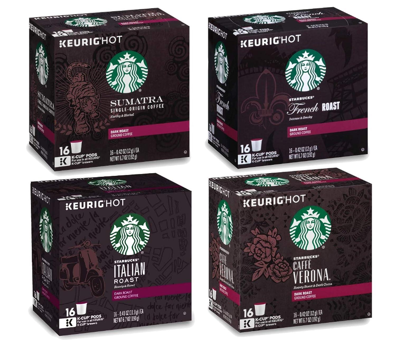 Starbucks Coffee K-Cup Dark Roast Variety Pack of 4 Flavors - Sumatra + French Roast + Italian Roast + Caffe Verona - Single Serve Cup 16 Ct Each - 64 Pods Total for Keurig Brewers