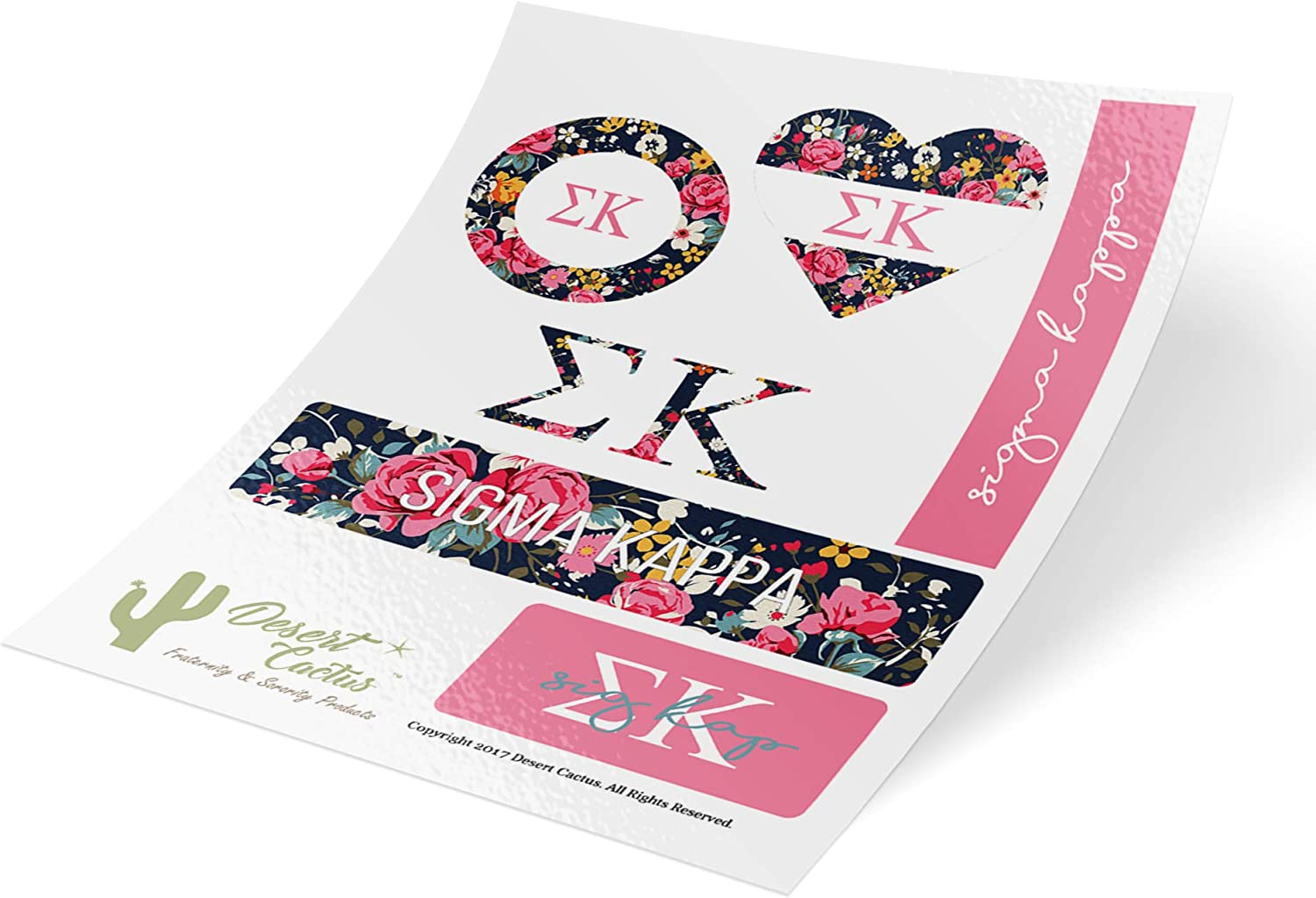 Sigma Kappa Classic Floral Sticker Decal Laptop Water Bottle Car (Sheet C. Floral)