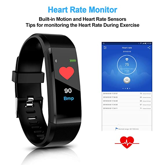 HK Fitness Tracker HR, Activity Tracker Watch with Heart Rate Blood Pressure Monitor Waterproof Smart Bracelet Wrist Band with GPS Step Calorie ...