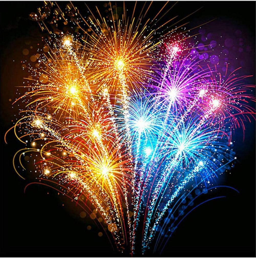 Paint By Number Kit Fireworks At Night For Adults Beginner Kids 16x20 Inch Linen Canvas Acrylic Stress Less Number Painting Gifts 40 50cm Amazon Co Uk Kitchen Home