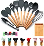Silicone Cooking Utensils Kitchen Utensil Set - 12 Pcs Wooden Handles Tools Turner Tongs Spatulas Spoons laddle for nonstick Cookware Gadgets with Bamboo Holder – Heat Resistant, BPA Free, Non Toxic
