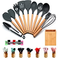 Silicone Cooking Utensils Kitchen Utensil Set - 12 Pcs Wooden Handles Tools Turner Tongs Spatulas Spoons laddle for…