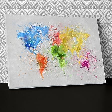 World Map Paint Splatter Blue Green Canvas Wall Art, Framed Ready to ...