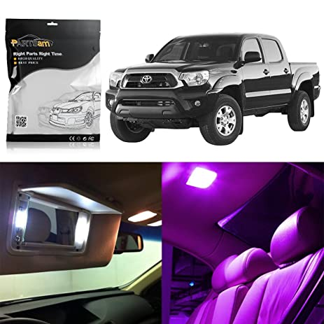 Partsam 2016 2017 Toyota Tacoma Interior LED Lights Package Lighting Kit  With Tool Bar  Pink