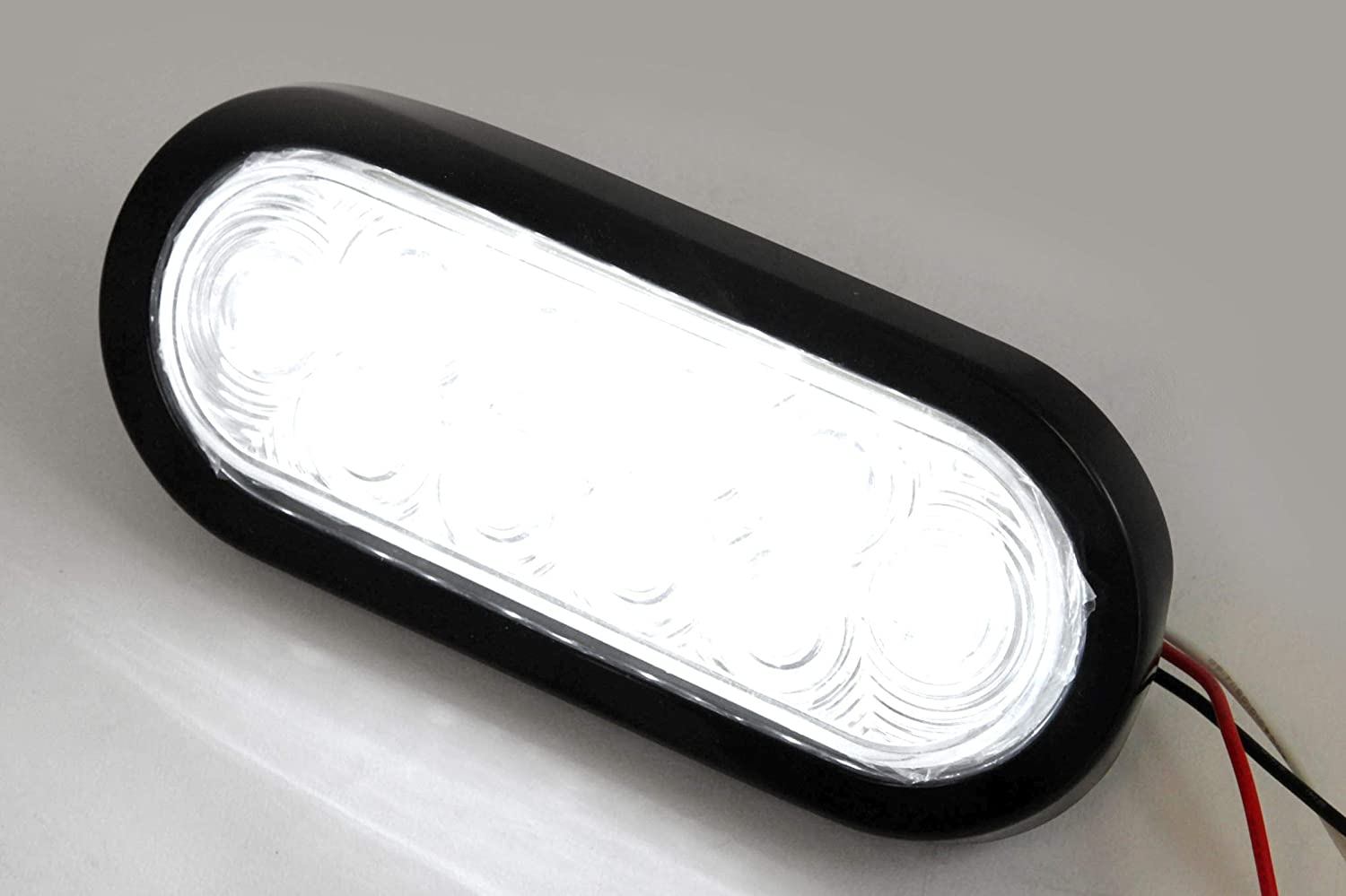 6 Oval Clear LED Reverse Back-up Light Flush Mount Trailer Truck Red Hound Auto 2
