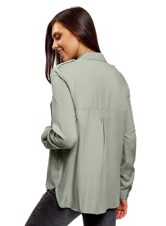oodji Ultra Mujer Blusa de Viscosa con Bolsillos en el Pecho