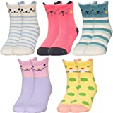 Jewatiby 5 Pairs Toddler Kids Little Girls Socks Cute Animal Cat Gift Soft Cotton Socks