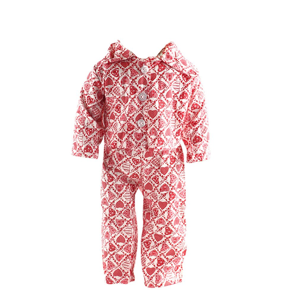 Hearts Printed Pajamas for American/Our Generation/Journey Girl 18 Inch Doll Red Generic