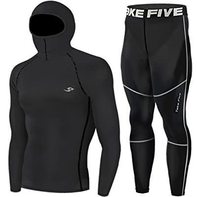 Mens Hoodie Mask Compression Base Layer Skin Tights Top & Pants Black SET