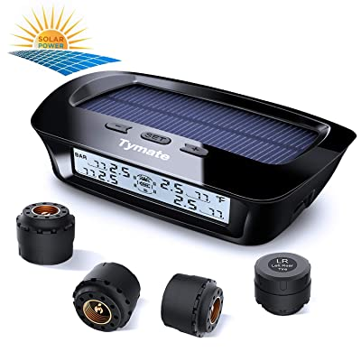 Tymate TPMS Solar Power Charge - 4 External Sensor (0-6.0 BAR) Wireless Tire Pressure Monitoring System, 6 Smart Alarm Modes Real-time Monitor Tire Pressure & Temperature (℃/℉) with HD LCD Display: Automotive