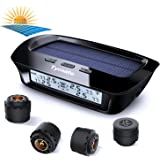 TPMS Solar Power with HD LCD Screen- Real-time Displays 4 Tires' Pressure, Temperature (-40℃~80℃)- Wireless Tire Pressure Monitoring System with 4pcs External Sensors (0-6.0 BAR)- 6 Alarm Modes