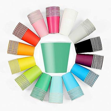 50 x Vasos Verde Vasos Desechables para Bebidas frías y Bebidas Calientes de cartón Respetuoso con