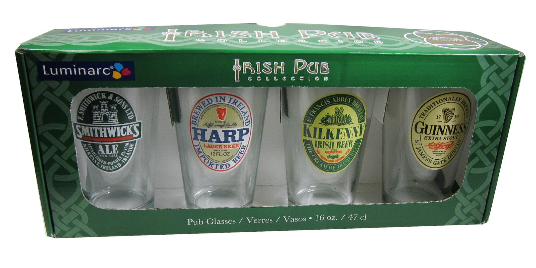 ARC International Luminarc Irish Beer Label Pub Beer Glass, 16oz , Set of 4 by Arc International (Image #3)