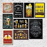 Kit Placas Decorativas Bebidas Frases Vintage Mdf- 9 Placas