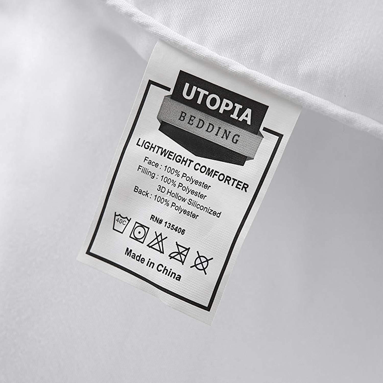 Box Stitched Full, White Soft Down Alternative Comforter Plush Siliconized Fiberfill Duvet Insert Utopia Bedding All Season 250 GSM Comforter