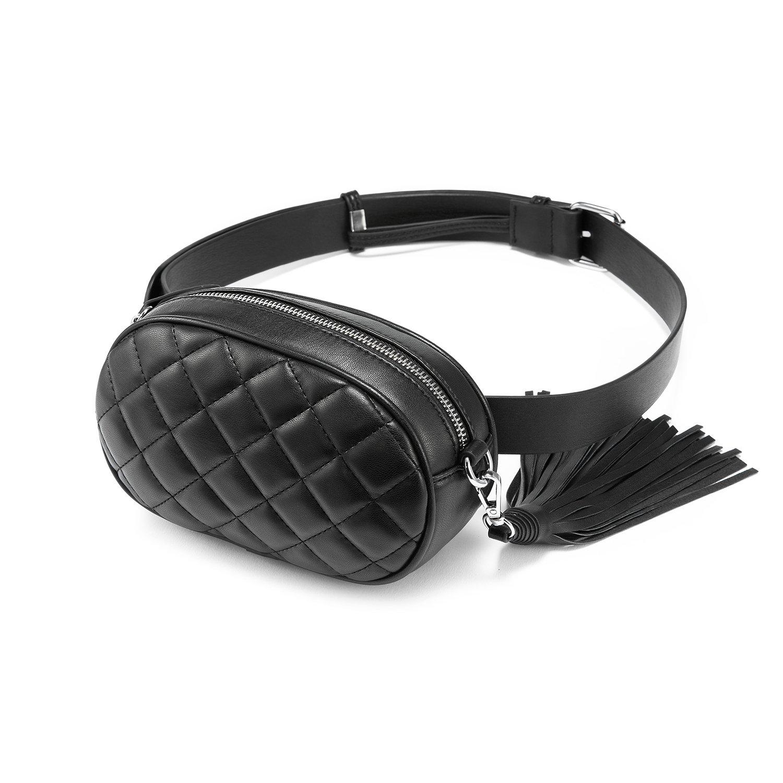 LOVEVOOK Fanny Pack Waist Bag Stylish Travel Cell Phone Bum Bag Black