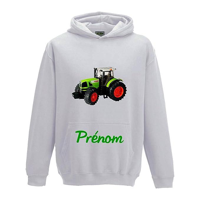 Yonacrea - - Sudadera con capucha infantil - Tractor verde con nombre personalizado - Creación ETHIQUE Blanco blanco: Amazon.es: Ropa y accesorios