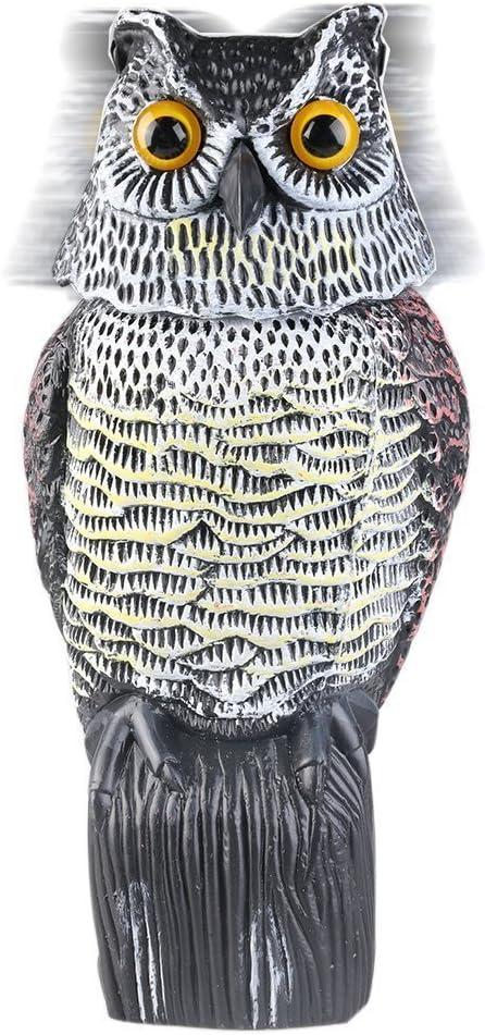 Búho Espantapájaros estatua con cabeza giratoria señuelo de adorno para jardín para protección de espacios exteriores