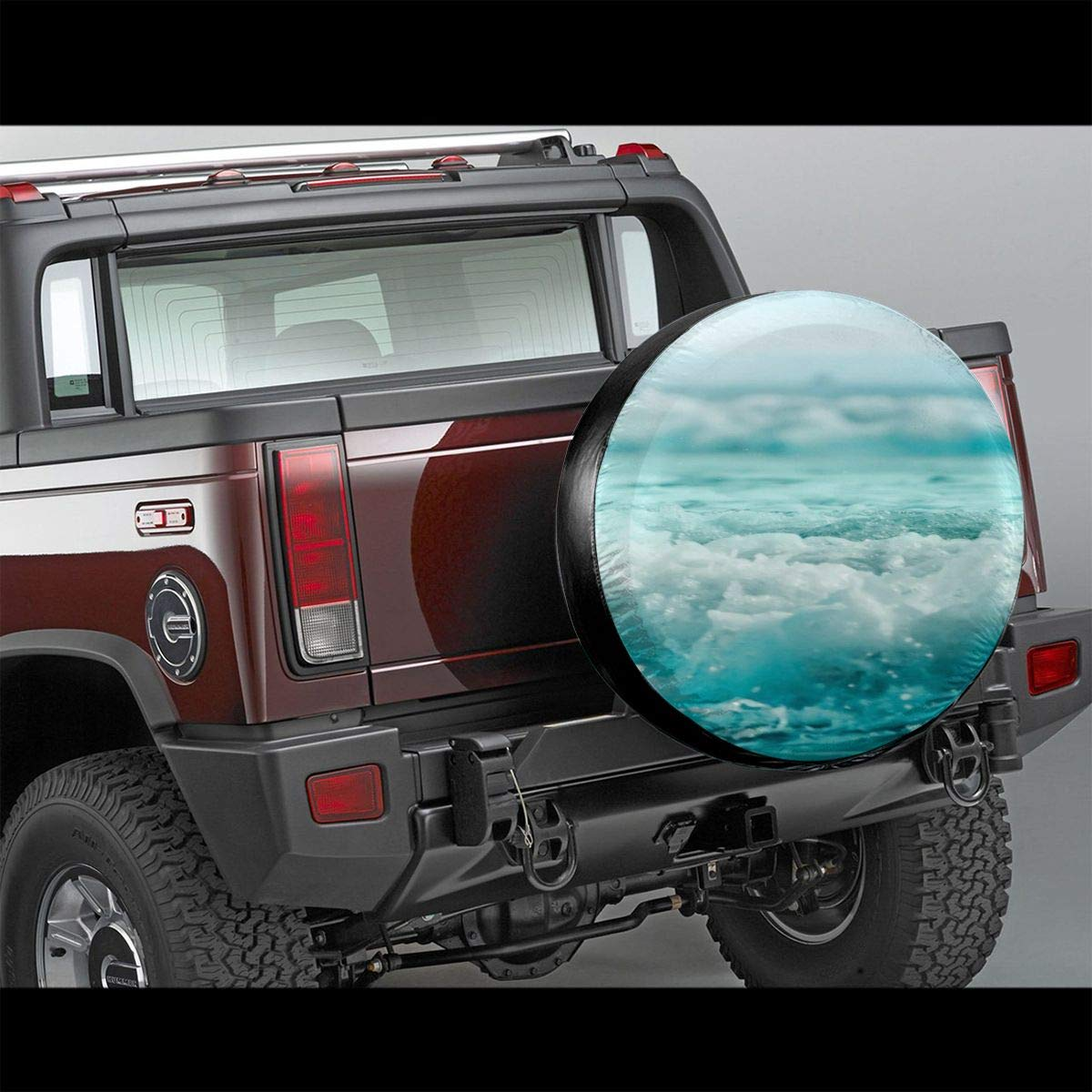 Blue Sea Wave Spare Tire Cover Waterproof Wheel Tire Cover Corrosion Protection Universal Tire Cover Wheel Protectors UV Blocking Seasonal Tire Covers for Jeeps Trailers RV SUV Trucks Camper