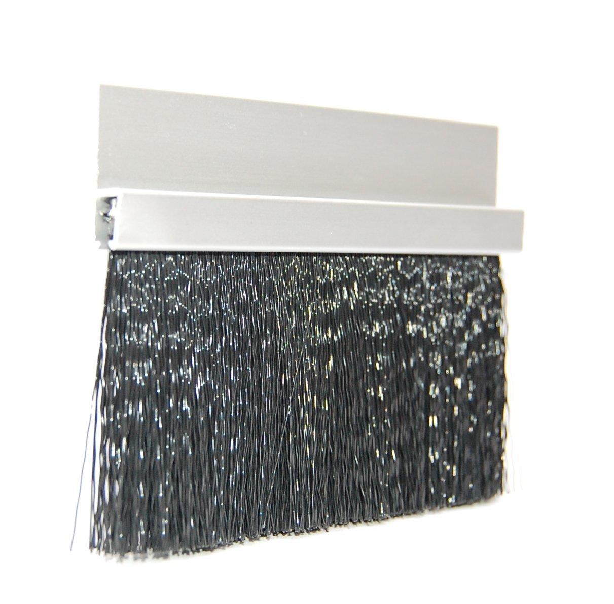 JaCor Medium-Duty Brush Seal; Clear Aluminum Straight Holder, Black Polypropylene Brush; 2.0'' Brush x 1.0'' Holder (180deg) x 96'' Long