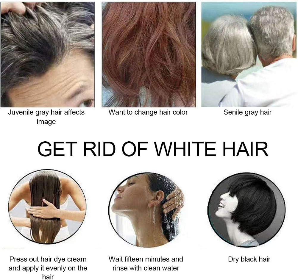 Crema para teñir el cabello de color negro, tinte para el cabello ...