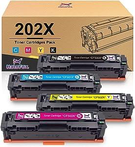 HaloFox Compatible Toner Cartridge Replacement for HP 202X CF500X for Laserjet Pro MFP M281fdw M254dw M281cdw M281 M281dw M280nw Toner Printer (Black, Cyan, Magenta, Yellow)