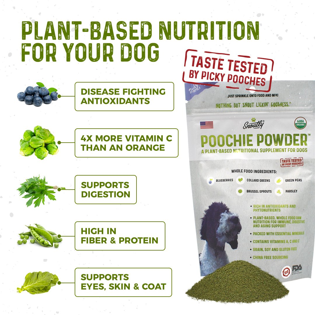 Organic Dog Supplement Multivitamin Poochie Powder – Human Grade Superfoods, Essential Vitamins Minerals, Disease Fighting Antioxidants for Daily Health, Digestive, Coat Immune Support 8oz