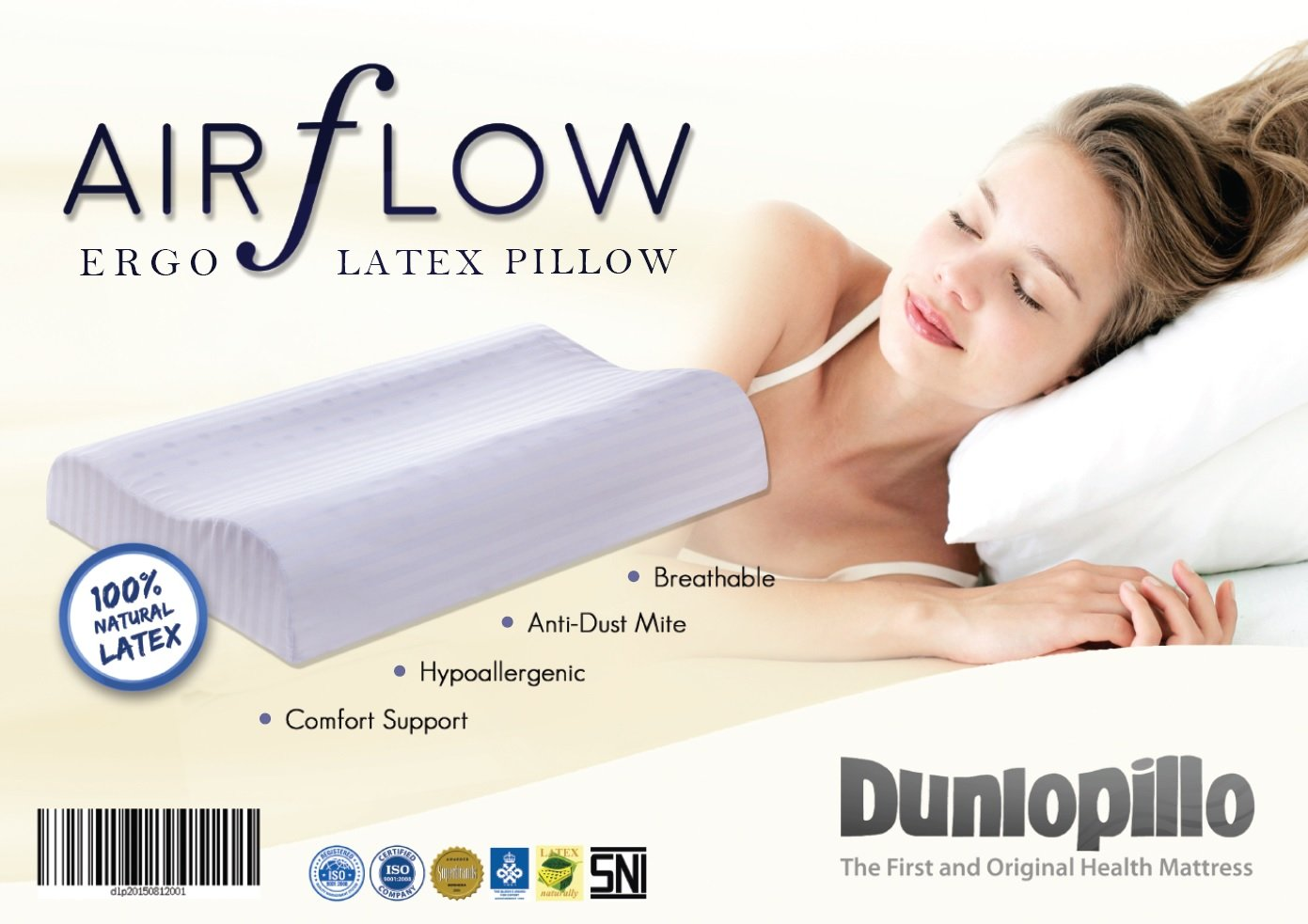 [Pillows for Sleeping] [Cooling Pillow, Natural Latex, Neck Pillow] [Excellent Neck Support, Anti-Allergen & Odorless. Stays in shape, no fluffing]. Ergonomic Design