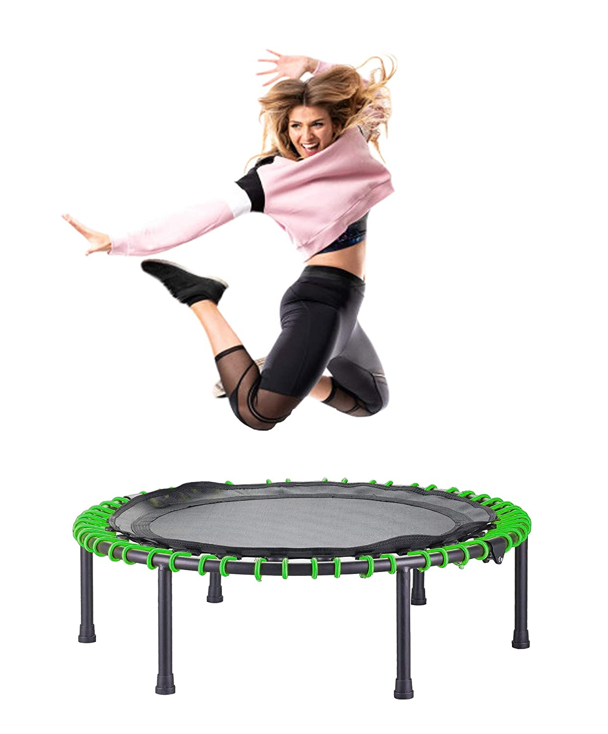 CASTOOL 40 Ultra Quiet Fitness Mini Trampoline Without Adjustable Handle,Safe Elastic Band Indoor Fitness Home Workout Cardio Training for Adults