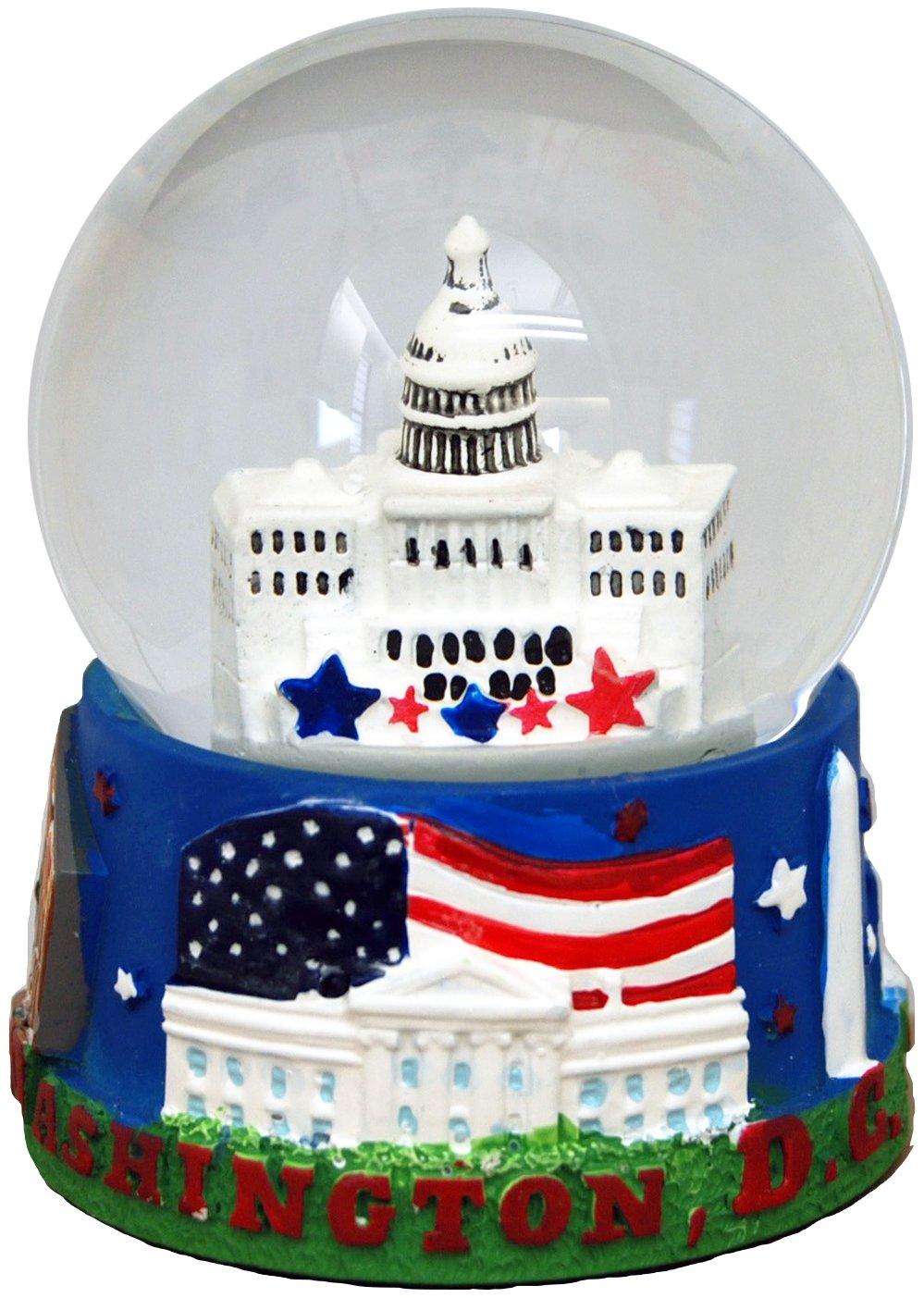 CityDreamShop Patriotic White House Large Souvenir Snow Globe Featuring Washington D.C The American Flag