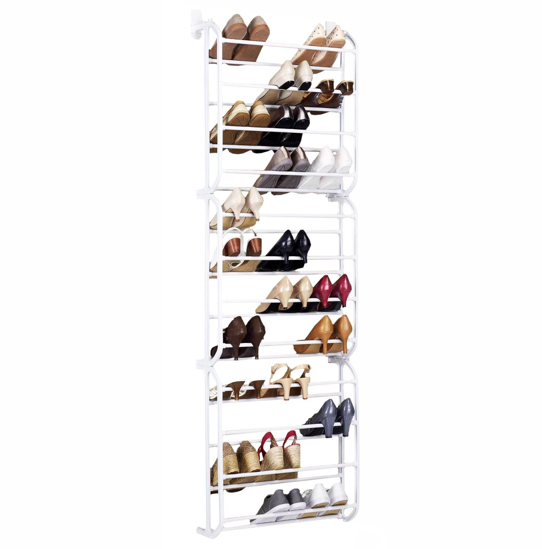 oypla 36 pair over the door hanging shelf shoe rack storage stand organiser holder hook amazoncouk kitchen u0026 home