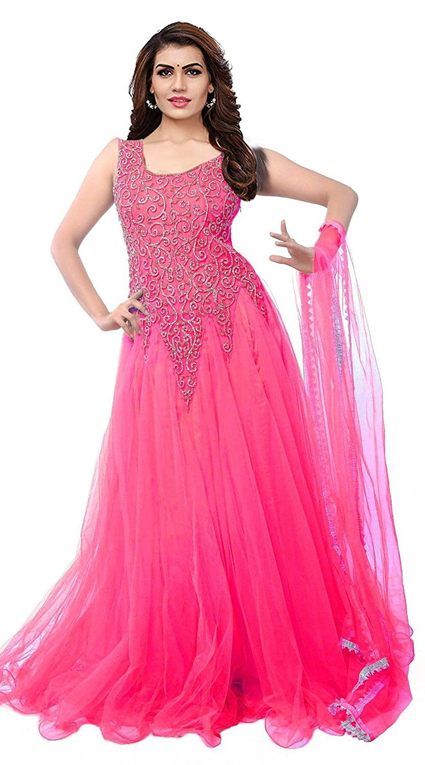 Buy Vkaran Net Gown Gc002 New Pink Free Size At Amazon In