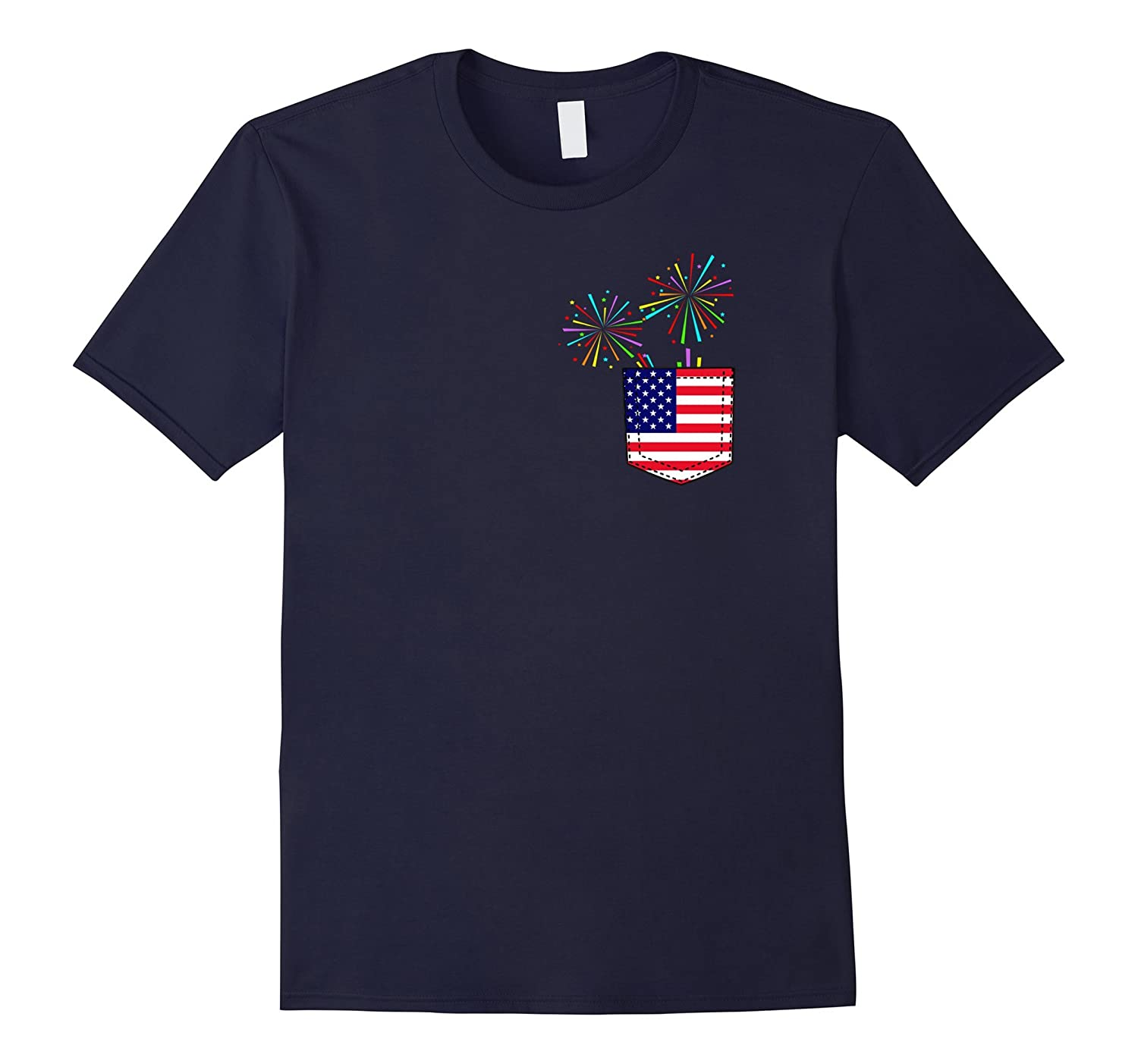 4th of July American Flag Faux Pocket Firework T-shirt-Art